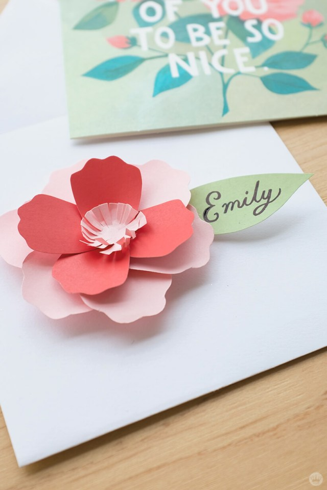 Envelope art: 3D paper flower to match floral design card