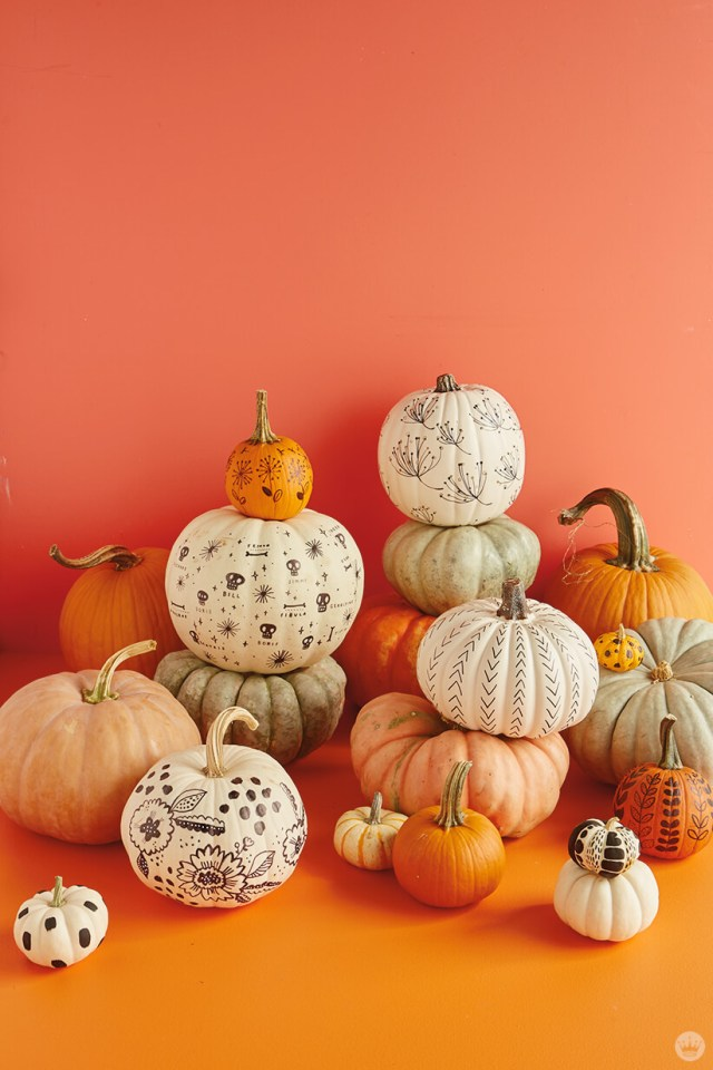 A display of natural and painted pumpkins
