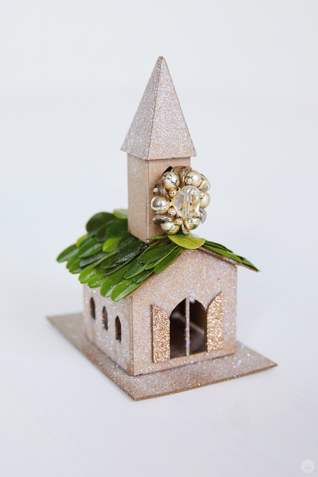 Miniature glitter-covered chapel