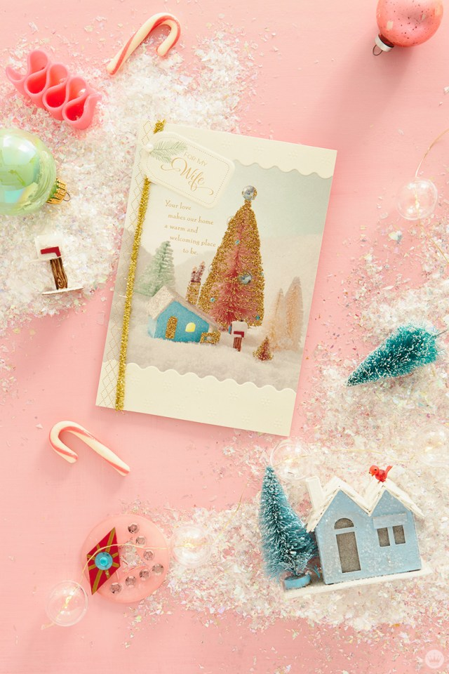 Glitter house and a Hallmark card featuring a glitter house