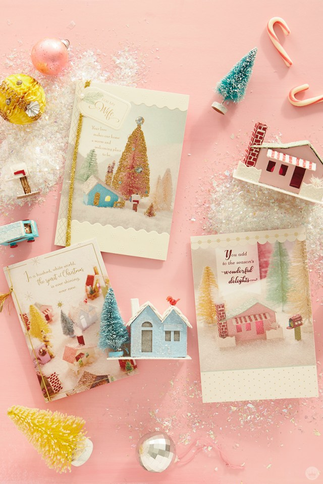Glitter houses and the cards they inspired