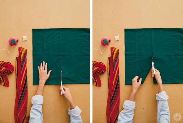 Couper le haut de la taie d'oreiller pour en faire un sac fourre-tout | thinkmakeshareblog.com