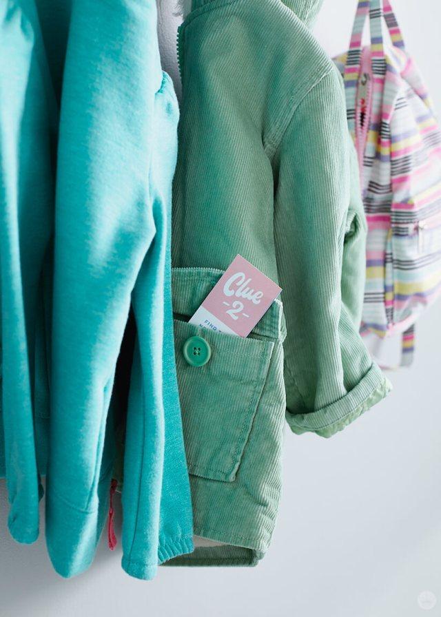 DIY Scavenger Hunt clue #2 in a jacket pocket | thinkmakeshareblog.com