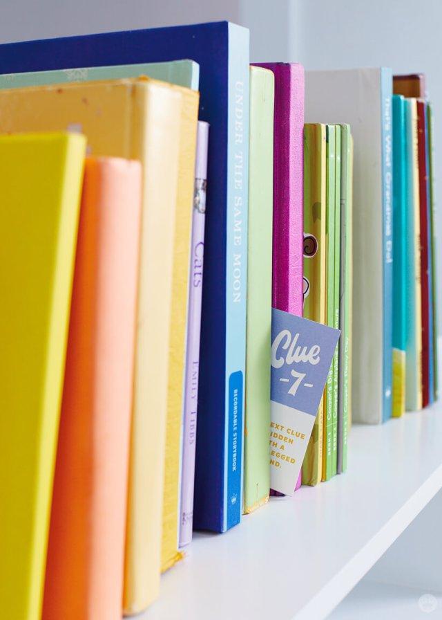 DIY Scavenger Hunt clue #7 hidden in between books | thinkmakeshareblog.com