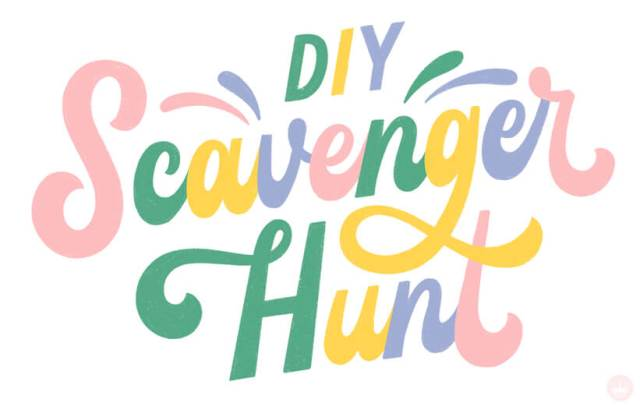 DIY Scavenger Hunt lettering title art | thinkmakeshareblog.com