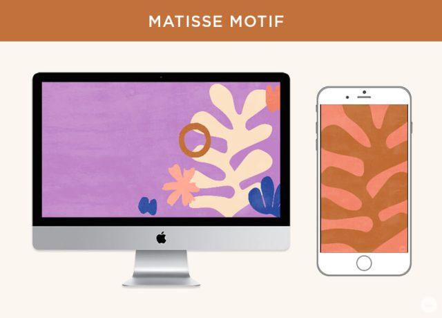 Free September digital wallpapers: Matisse Motif displayed on desktop and phone screen