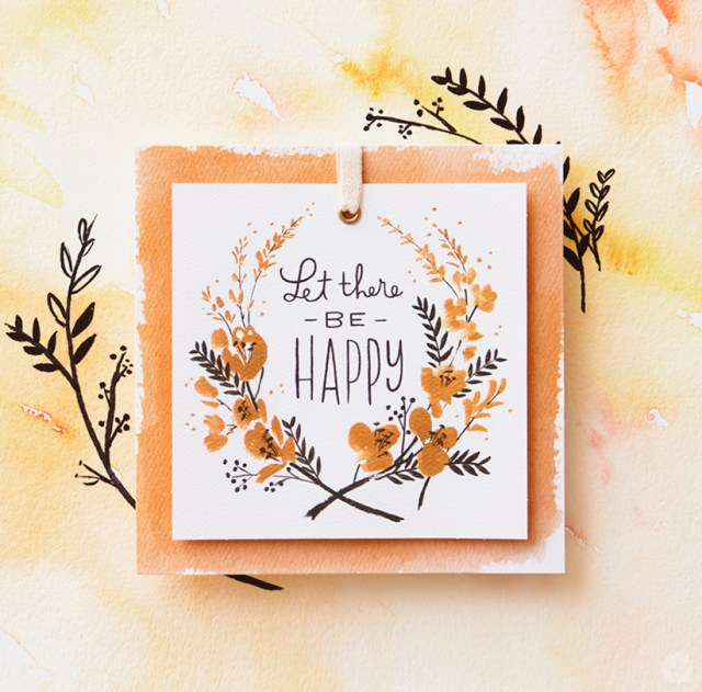 """Artists sketchbook card featuring quote: """"Let there be happy"""""""