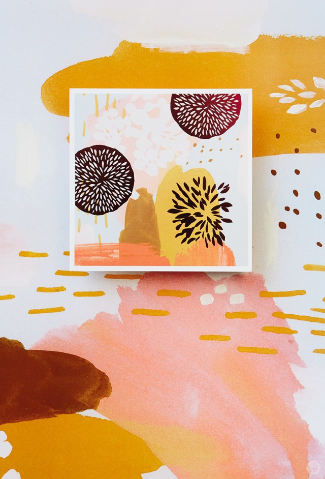Card with abstract patterns in a warm color palette from our Sketchbook Gallery collection