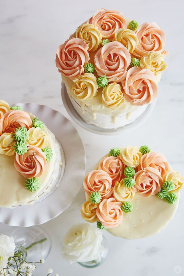 Drip cakes with buttercream roses