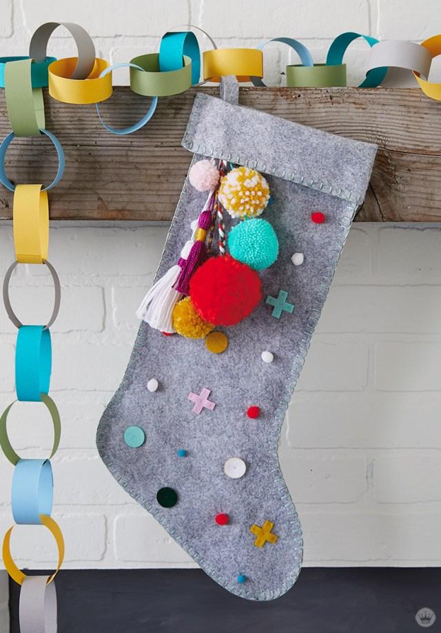 Multi-color DIY Christmas stocking