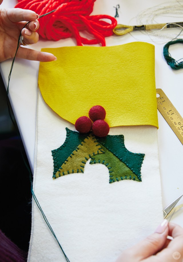 DIY Christmas stocking with holly appliqué