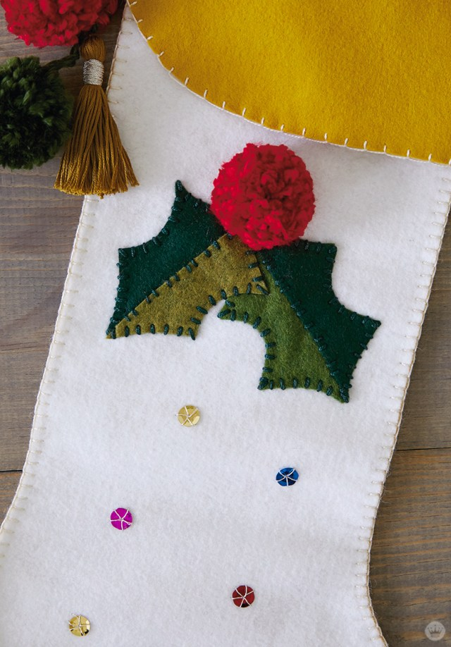 DIY Christmas stocking with holly and sequins