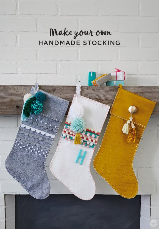 Gray, white, and gold DIY Christmas stockings