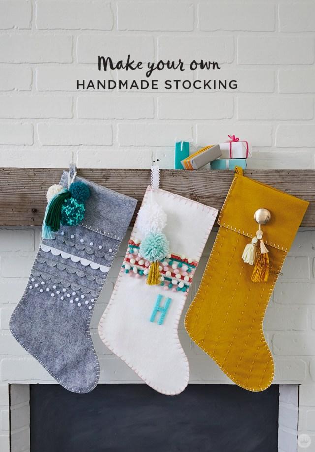 Gray, white, and gold DIY Christmas stockings