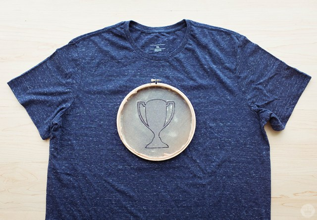Trophy designed centered on a t-shirt and ready to screen print