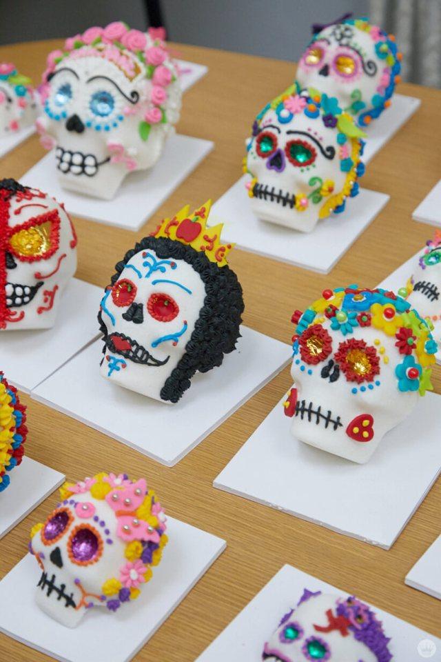 Sugar skulls decorated by Hallmark Artists