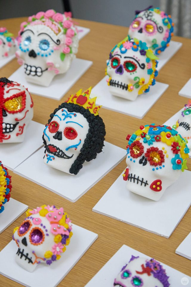 Sugar skulls decorated by Hallmark Artists