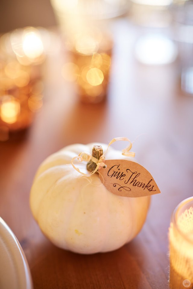 Thanksgiving and Friendsgiving ideas: tiny white pumpkin placecard