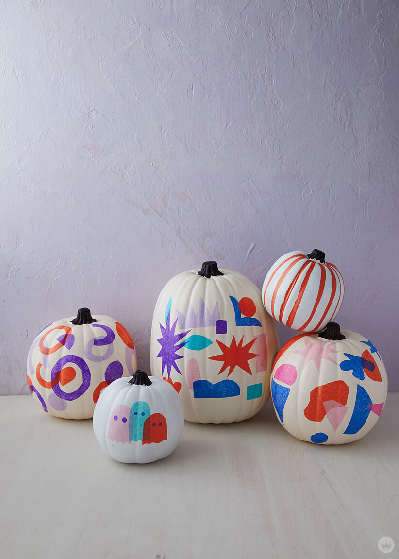 Tissue paper decoupage pumpkins, for gourdness sake , Think