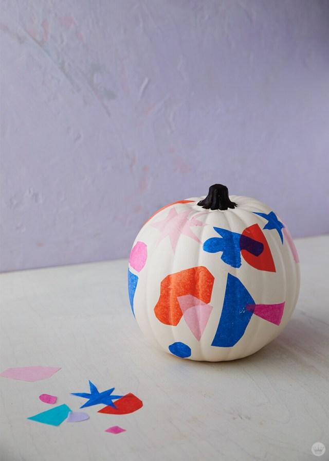 Decoupage tissue paper pumpkin | thinkmakeshareblog.com