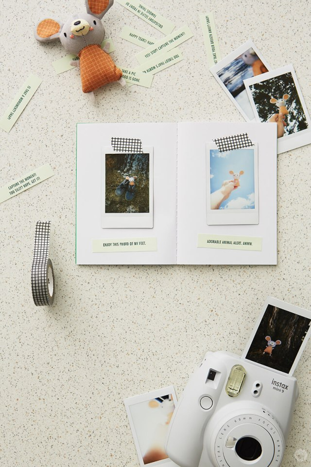 DIY Travel journal with washi tape, instant camera, printable captions, instant photos, and stuffed mouse