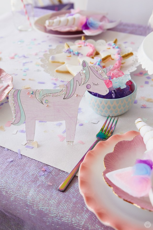 Printable unicorn table decor hand-colored and decorated with gemstones and glitter