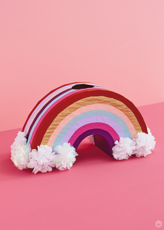 Rainbow Valentine's Day mailbox with tissue-paper flower clouds | thinkmakeshareblog.com