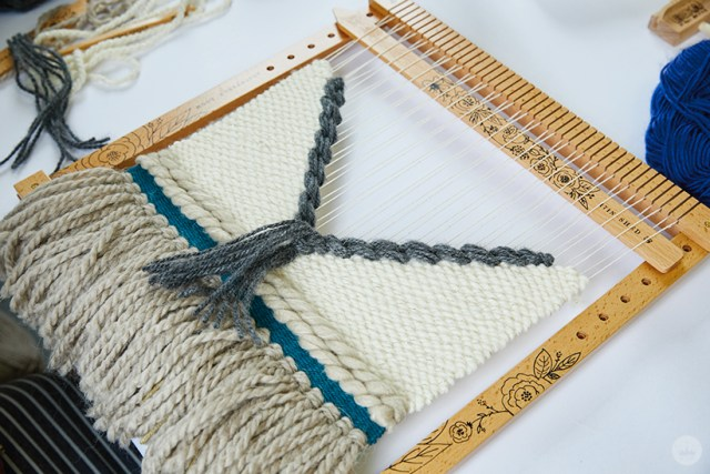 Weaving workshop: hallmark artist weaves fiber art piece with geometric lines