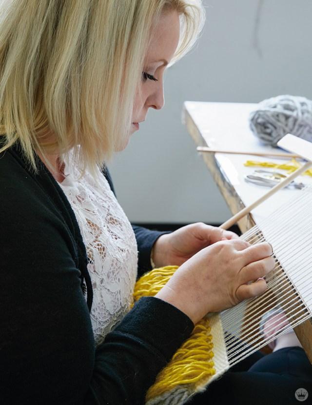 Weaving workshop: hallmark artist weaves on little loom