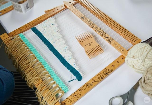 Weaving workshop: piece of fiber art in process