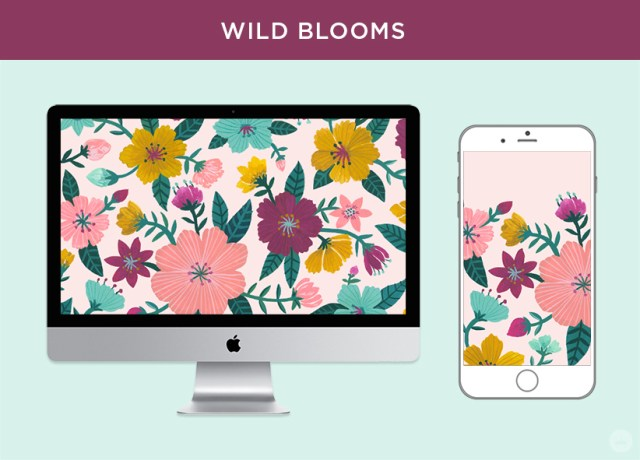 Free digital March wallpapers: Wild Blooms