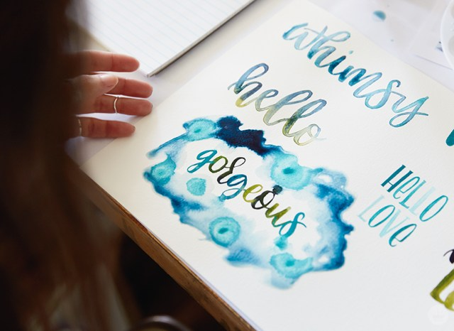 "Example of ""puddling,"" a watercolor lettering technique."
