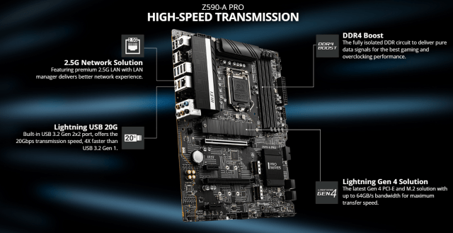 MSI Z590 A PRO Motherboard Intel Chipset thermal