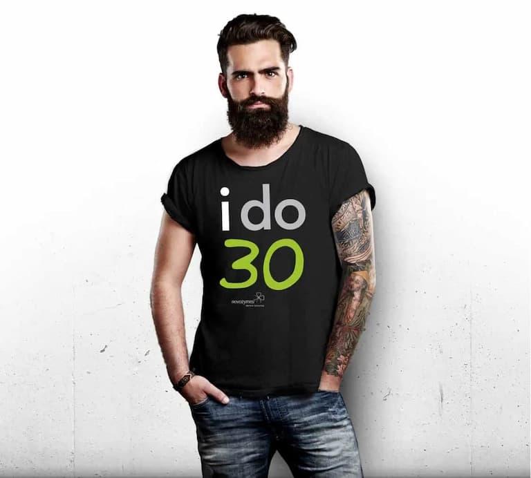 man wearing i do 30 campaign t-shirt