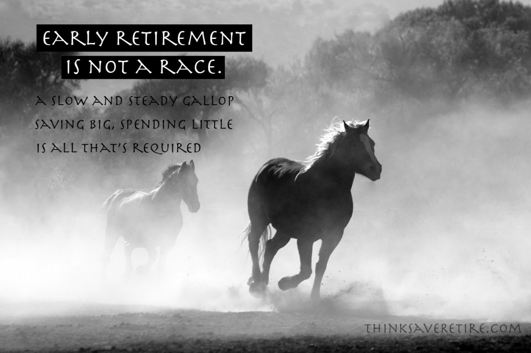 Early retirement is not a race. A slow and steady gallop, saving big, spending little, is all that's required.