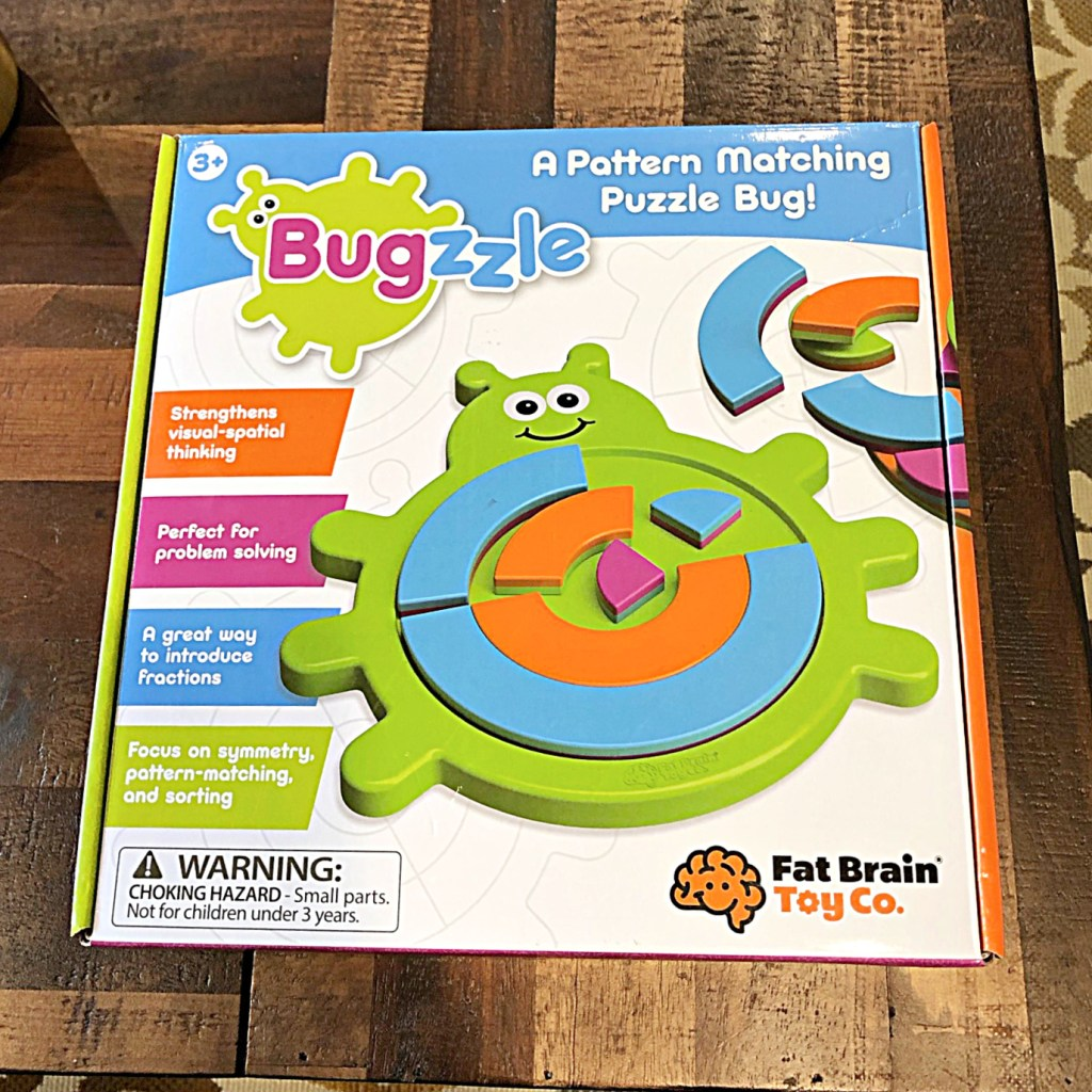 box cover for the logic board game Bugzzle: A Pattern Matching Puzzle Bug.