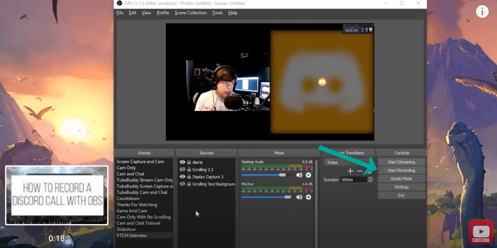 record a Discord call using OBS