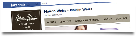 Facebook Design for Maison Wiess  - Jackson and Oxford Mississippi
