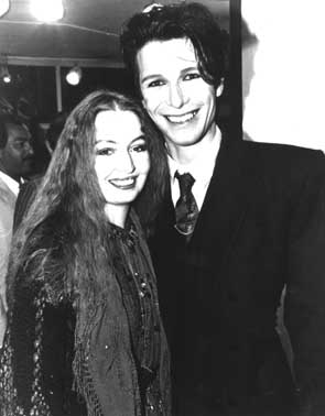 Zaine Griff and Mary Hopkin (Tony Visconti's wife) at the Ebury Gallery in 1982