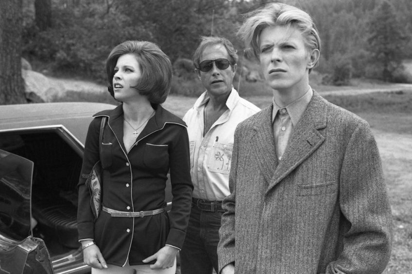 David Bowie, Candy Clarke and Nic Roeg on the set of The Man Who Fell To Earth