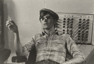 David Bowie smoking a cigarette at Berlin's Hansa on the Wall studios