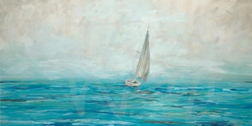coastal sailing sailboat nautical blue seattle art