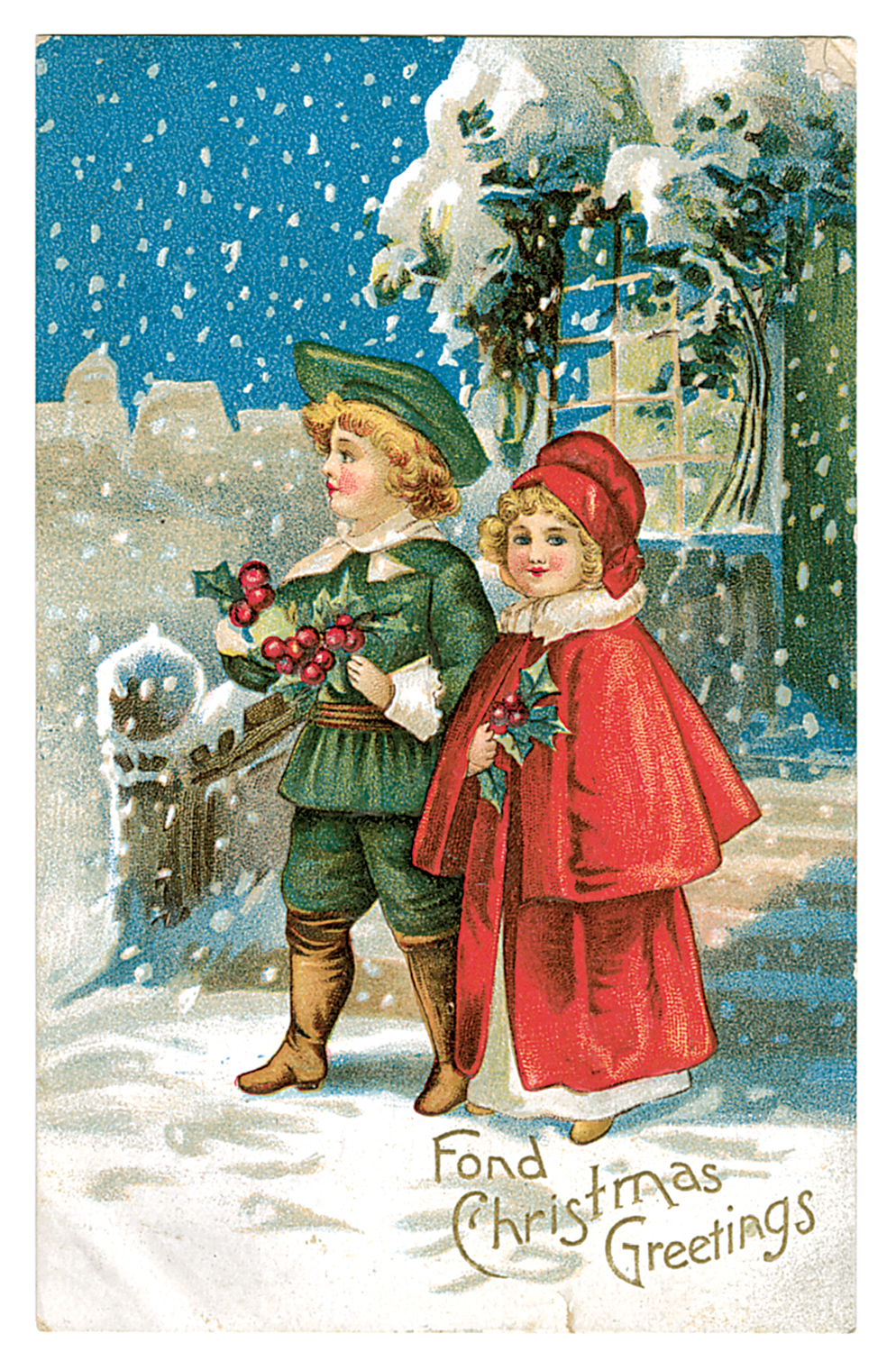 Christmas Greetings With Vintage Friends And Family Postcards Free