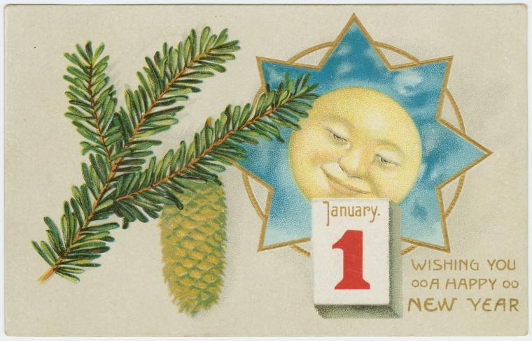 Happy New Year With Vintage Postcards Free Downloads Thirdshift Vintage Blog