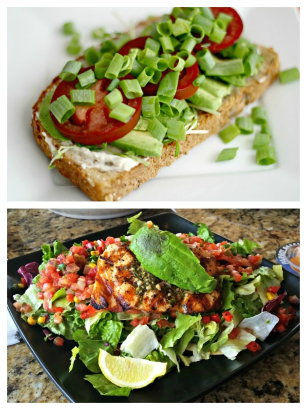 green sandwich and salad