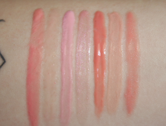 nude lip glosses swatches