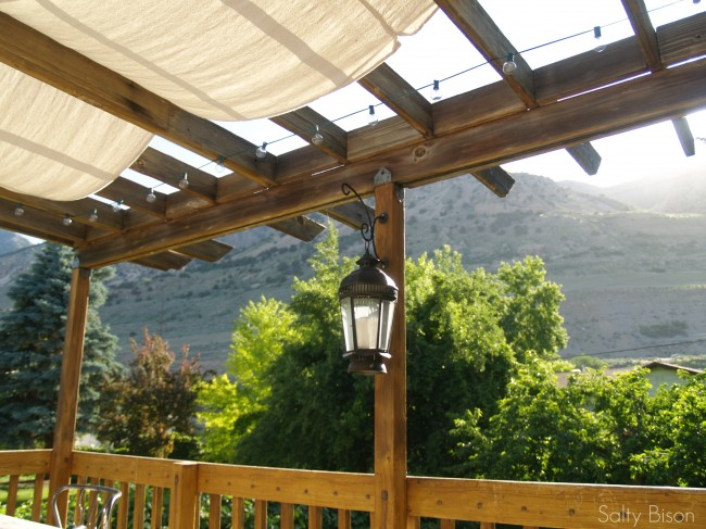 Outdoor Space Makeover: Painted Floors & DIY Drop Cloth Shade on Canvas Sun Shade Pergola id=96333
