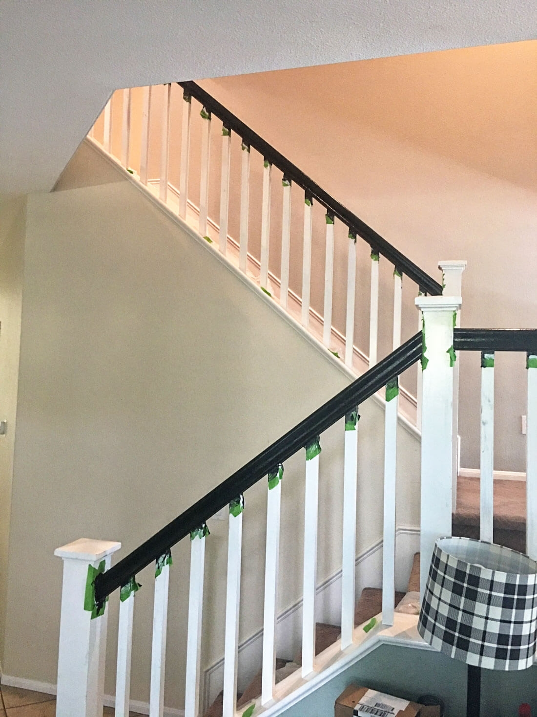 How To Paint Your Stair Railing And Banister Black From 30Daysblog | White Railing Black Spindles | Porch | Iron Balusters | Wrought Iron | Porch Railing | Trex Deck
