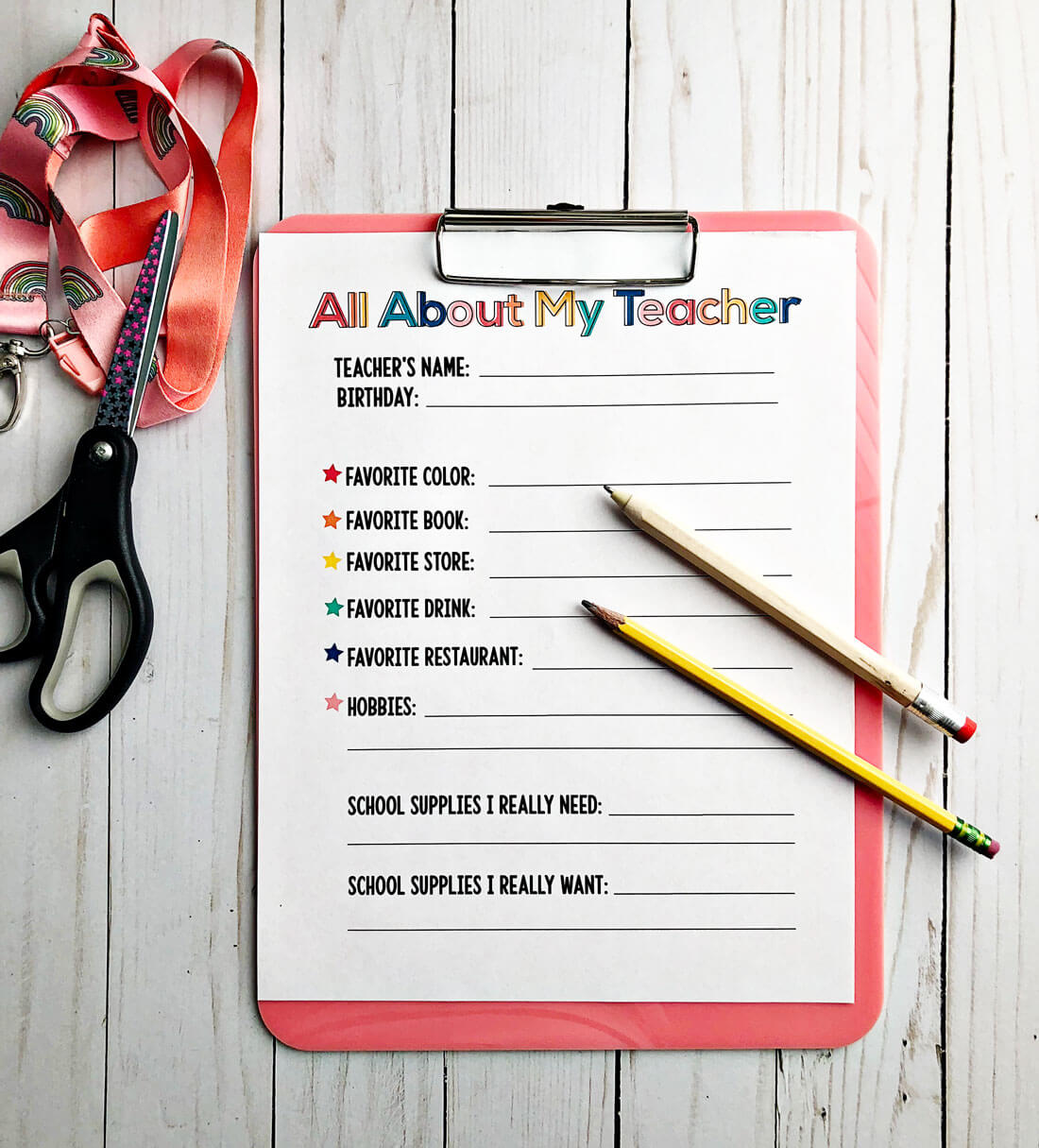 All About My Teacher Printable For Ts