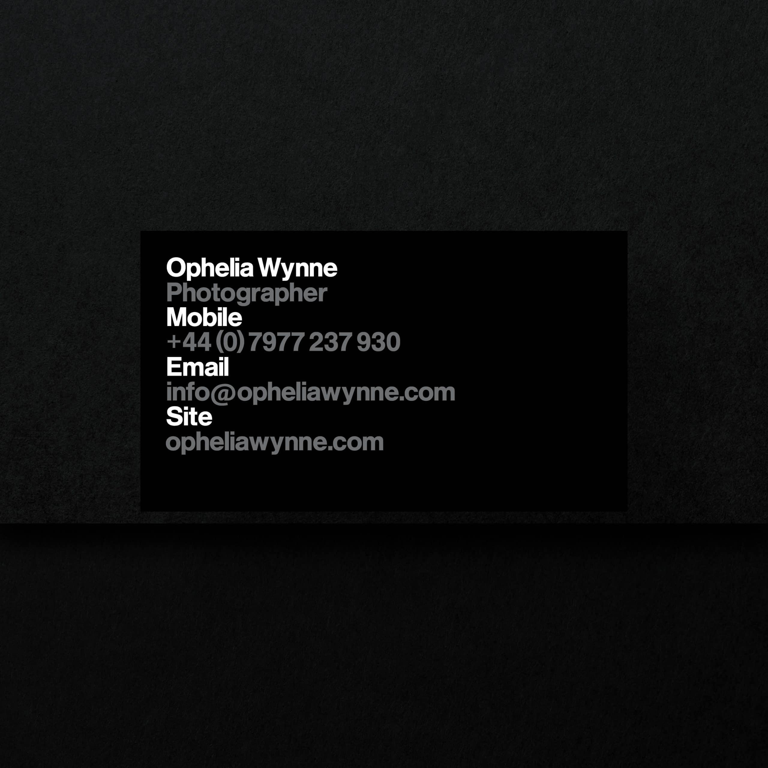 Ophelia Wynne - business card